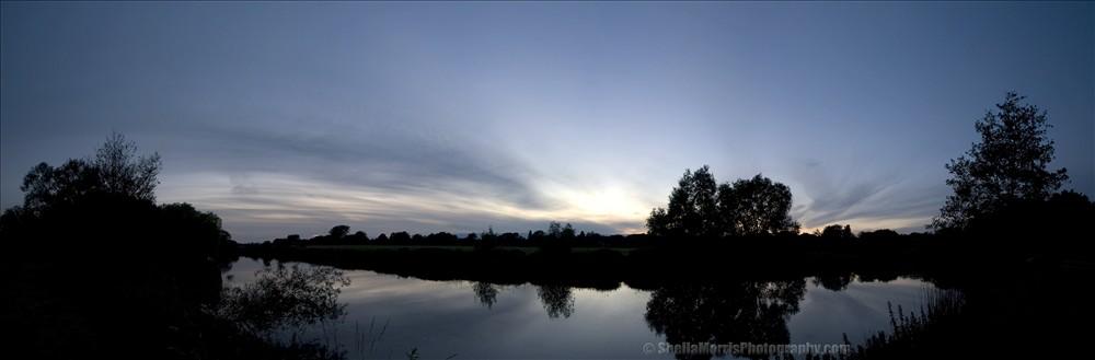 River Sunset Summer Solstice Panorama