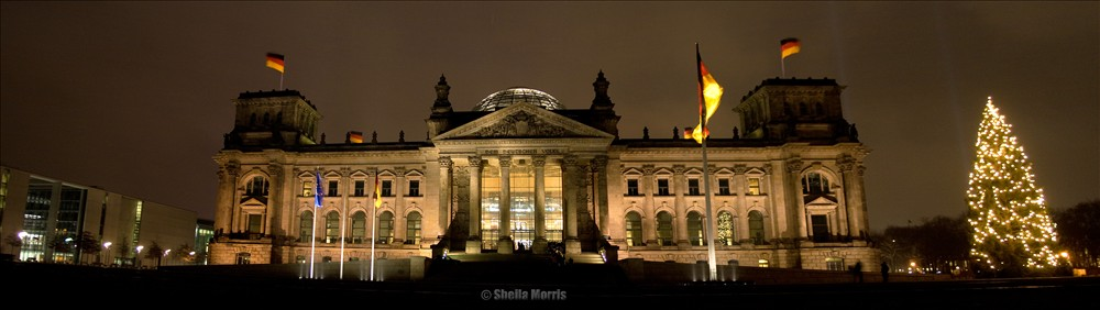 Reichstag Building Panorama at night